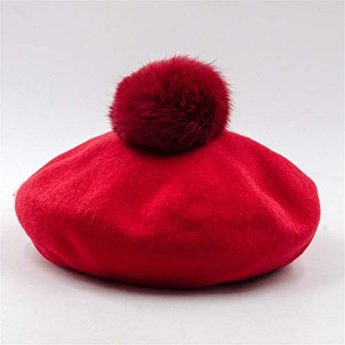Buy Discount Hat Mushroom Type Hair Ball Decoration Beret Painter Hat Autumn and Winter Untamed Stro...