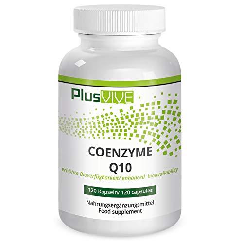 PlusVive - Coenzym Q10 Kapseln - hochdosiert: 200 mg Coenzym pro Kapsel - mit Bioverfügbarkeitsmatrix - 120 vegane Kapseln - Hergestellt in Deutschland