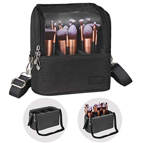 Makeup Brush Case Makeup Brush Holder Travel Makeup Bag for Women Cosmetic Bags Stand-up Brush Cup Professional Makeup Artist Storage Organizer with Shoulder Starp and Adjustable Dividers (Black)