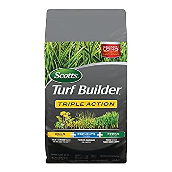 Scotts 26003 Turf Builder Triple Action Kills Weeds Including Dandelions & Clover Prevents Crabgrass 4 Months 4,000 sq ft Feeds & Fertilizes To Build Thick Green Lawns