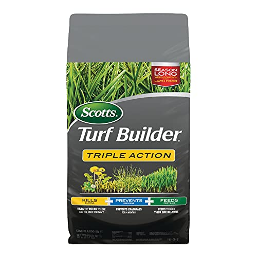 Scotts 26003 Turf Builder Triple Action Kills Weeds Including Dandelions & Clover Prevents Crabgrass 4 Months, 4,000 sq. ft, Feeds & Fertilizes To Build Thick Green Lawns