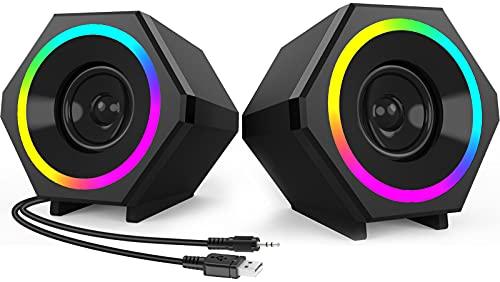 NJSJ Altavoces de ordenador,10W 2.0 USB Powered Gaming Speaker con luz LED RGB mejorada,entrada 3,5 mm Altavoces con cable para PC,escritorio, portátil,tableta