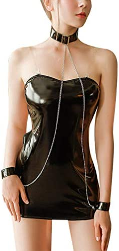 HEALLILY 1 Set Sexy Cosplay Lingerie Punk Gothic Black Leather Dress Nightwear with Collar Chain product image