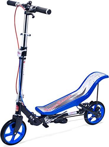 Space Scooter Premium X590, Blau, Tretroller mit Schwungrad, per Luftdruckdämpfer Angetriebener Roller mit Bremsen, Luftfederung, Einfache Faltbarkeit, für Kinder ab 8 Jahren, Blau/Schwarz