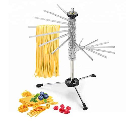 GOZIHA - Soporte para secar pasta fresca casera | Soporte para secador de espaguetis con 16 varillas antideslizantes | Plegable y fácil de almacenar fideos secos | Fácil de usar y ajustar | No tóxico | Blanco