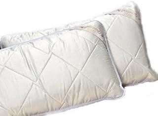 Dos almohadas naturales de lana merino de 58 x 92 cm, de calidad, 900 g/m², relleno 100% lana merina, cubierta 100% algodón