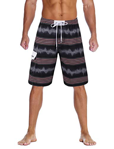 unitop Men's Colortful Striped Surfing Beach Board Shorts with Lining Black-1 36