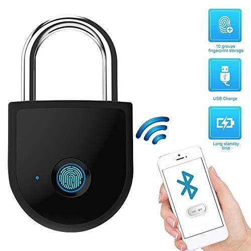 YANGMAN-L Empreintes digitales Padlock, Bluetooth Smart Antivol 10 Fingerprints Security Lock pour Sac à Dos Valise vélo Gym Locker Valises Voyage Bagages Porte