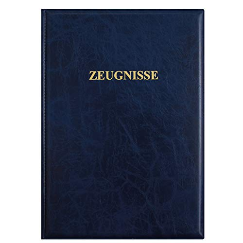 ROTH Zeugnismappe Dunkelblau - mit 12 A4 Klarsichthüllen, dokumentenecht - Dokumentenmappe