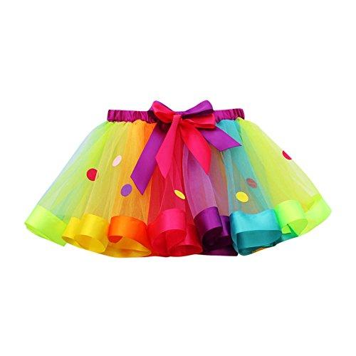 OverDose Damen Tutu Mädchen Kinder Rock Tüllrock 50er Jahre Short Ballett Tanz Regenbogen Kleid Cosplay Krinoline Petticoat für Rockabilly Kleid