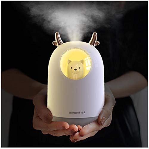 Guwheat Cool Mist Mini-Luftbefeuchter mit einstellbarem Nebelmodus, 300 ml Wassertank, leiser Betrieb, 7-farbiges LED-Nachtlicht für Baby, Schlafzimmer, Haushalt, Büro (Bär Weiß)