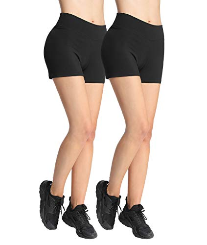 4How Lot de 2 Short Danse Femme Confortable Shorty Coton de Sport pour Yoga Fitness Noir Taille M