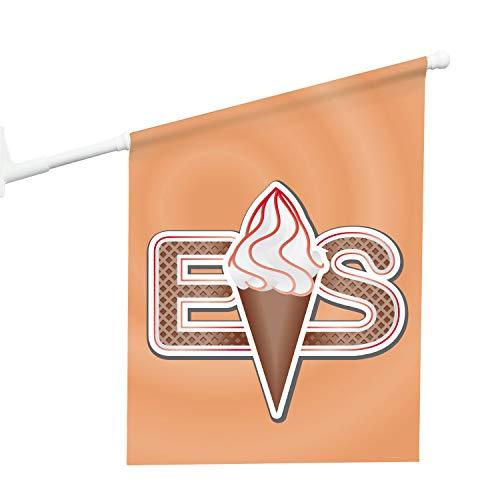 Vispronet® Eisfahne - Softeis ✓ 46 x 52 cm ✓ Vinylplane ✓ doppelseitig Bedruckt ✓ inkl. Wandhalterung