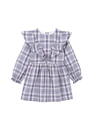 Gocco Vestido Cuadros POPELÍN Dress, Gris Medio, 44020 para Niñas