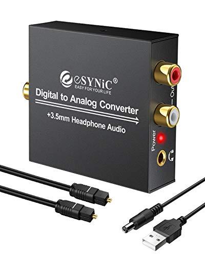 Convertitore DAC audio da digitale ad analogico, RCA l/R 3,5mm, uscita stereo con cavo ottico, per PS3,XBOX 360,HDTV, Blu Ray, DVD, Sky HD, Apple TV