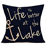 Tlovudori Life is Better at The Lake Inspirational Quote Lettering Throw Pillow Covers Decorative Ocean Nautical BoatAnchor Simple Accent Pillowcase Sofa Chair Cushion Case 18'x18'