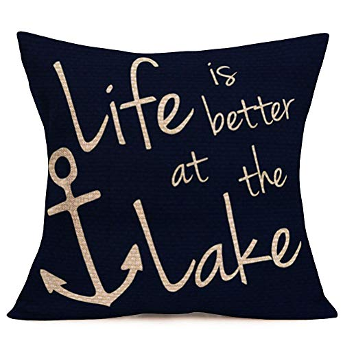 Hopyeer Life is Better at The Lake Inspirational Quote Lettering Throw Pillow Covers Decorative Ocean Nautical BoatAnchor Simple Accent Design Pillowcase Sofa Chair Cushion Case 18'x18' (LI-Lake)