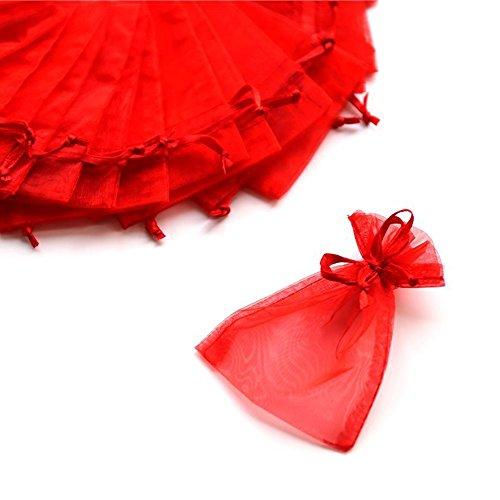 C.X.Y. 100 Sacchetti Organza 7 * 9cm Confetti Bomboniera Regalo (Rosso)