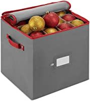 ZOBER Christmas Ornament Storage Box with Zippered Closure - Protect & Keeps Safe Up to 64 Holiday Ornaments & Xmas...