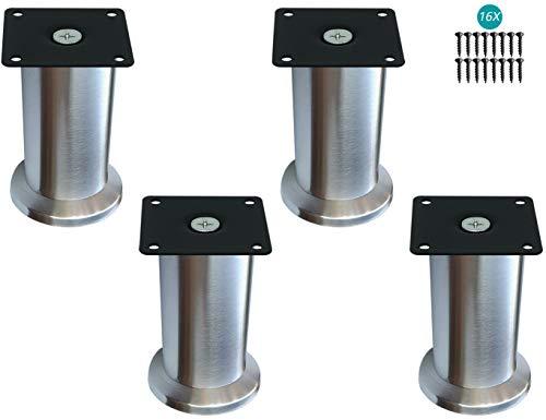 CXPDC 4PCS Möbelfüße, Metall Edelstahl, Möbelbeine Metallfuß, Geeignet Für Bett Beine/Sofa Beine/Tisch Beine/höhenverstellbare Beine, Unterstützung über 600 kg, 5.5CM(Panel)