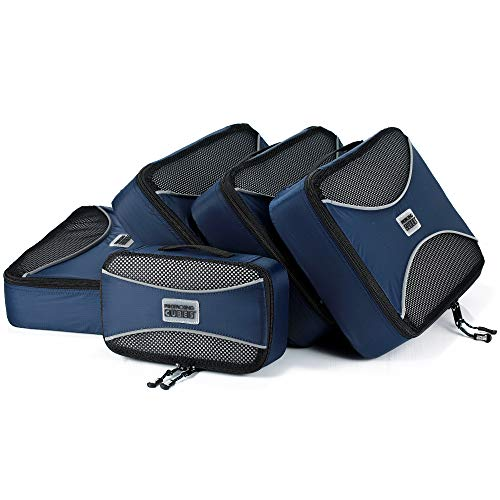 PRO Packing Cubes | 5 Piece Travel Bags Organizer for Luggage | Multi-size Ultralight Travel Cubes | Deluxe Suitcase Organizer Bags Set | Makes Packing Easy - Marine Blue