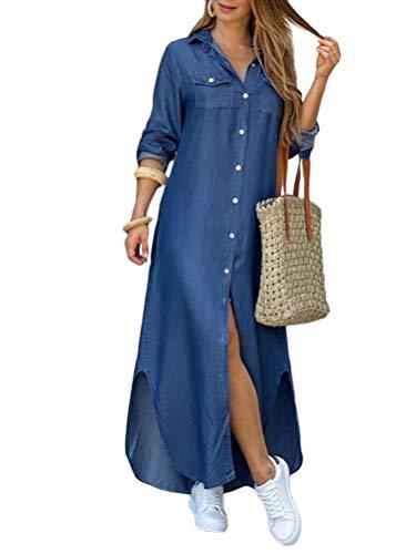 ORANDESIGNE Damen V-Ausschnitt Jeanskleider Denimkleid Sommerkleid Lose Kurzarm Partykleid Tunika Hemd Blusenkleid Jeanskleid Maxi Kleid C Blau 46