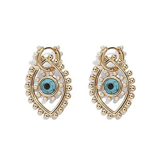 Xpccj Pendientes de tuerca con perlas de ojo de la suerte, de ojo turco, de aleación de color dorado, pequeños aretes para mujeres y hombres (color de metal: como en la imagen).