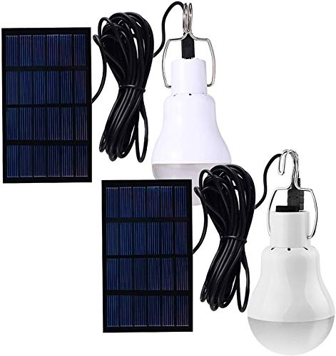 Solar Light Bulbs, Outdoor Indoor Home Chicken Coop Lights, Solar Powered LED Shed Lights, Camping Lamps for Tent (2 Packs)