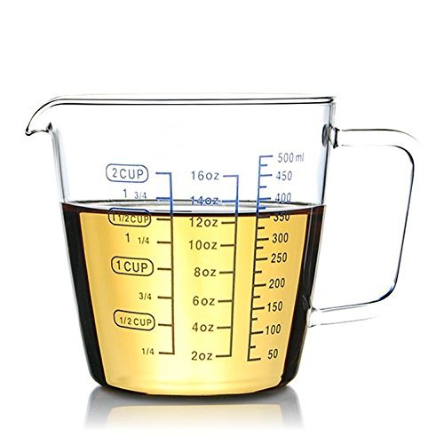 2 Cup Borosilicate Glass Measuring Cup With 50ML Intervals Scale New Kitchen Accessories Easy Measure Liquid Powder Milk Cups