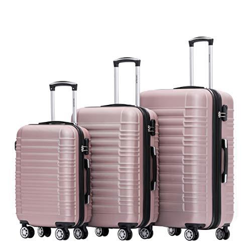 BEIBYE Hartschalen Koffer Trolley Rollkoffer Reisekoffer Zwillingsrollen Kofferset (Rosa Gold, Set)