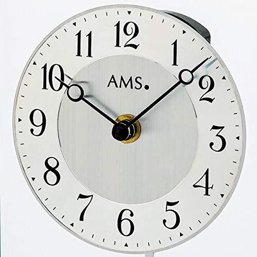 CV AMS 1142 Tischuhr Quarz mit Pendel silbern Metall matt mattiert mit Glas