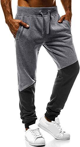 LAYAN-B Pantalones de chándal para hombre con bloque de color para entrenamiento, pantalones de entrenamiento con puños