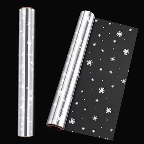 STOBOK Klares Cellophan Geschenkfolie Transparent Rolle,40CM x 30M Weihnachten Schneeflocken Geschenkpapier 3.0 Mil Dicke Lange Film Geschenk Kristall Papier Transparentpapier für Kunst, Blumen