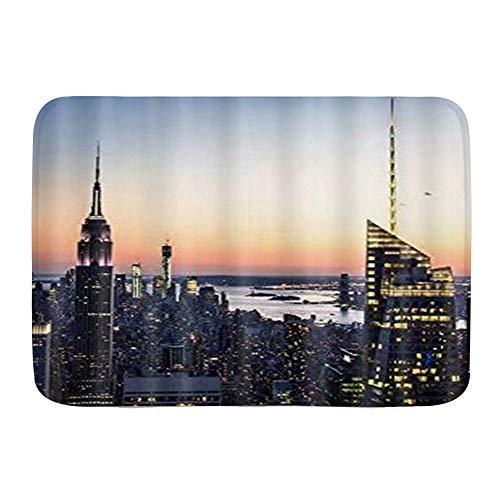 ELIENONO rutschfeste Badematte,Blau-gelbes New York-Gebäude,Badteppich aus Mikrofaser für Badezimmer Dekor Teppich