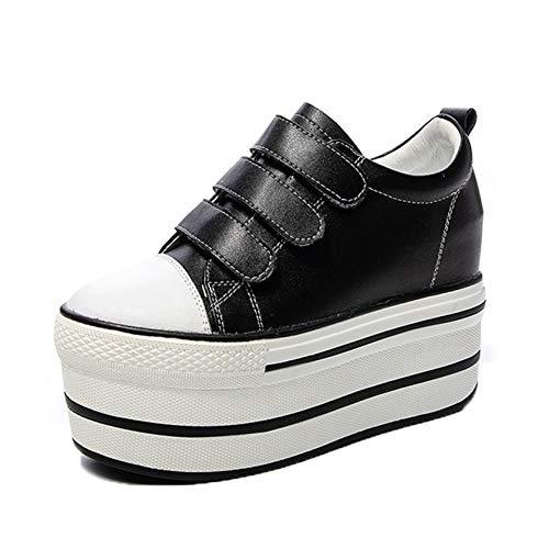 Zapatos Casuales para Mujer, Suela Suave, usable, con Gancho, Estilo Urbano, al Aire Libre, Cuero, Primavera, Verano, Plataforma Gruesa, Zapatos de tacón Alto