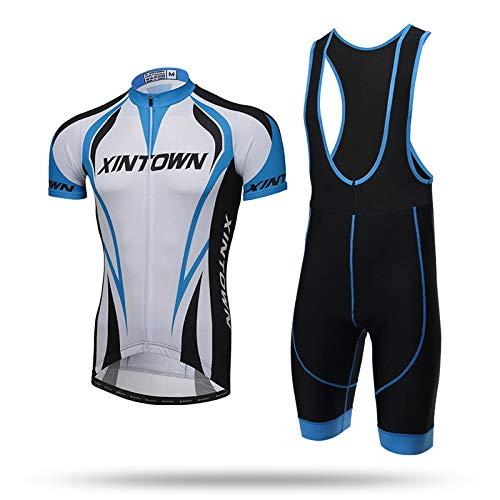 YUJIA Herren Radanzug Anzug Jersey und Latz Set Kurzarm Fahrrad Top + Gel gepolsterte Shorts A-3XL
