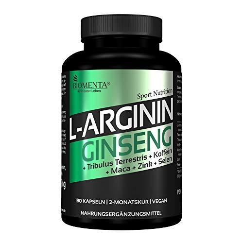BIOMENTA Arginin + Ginseng - vegan - mit L-Arginin, Ginseng, Maca, Tribulus Terrestris, Koffein, Zink, Selen – 180 L-Arginin Ginseng Kapseln hochdosiert – 2 Monatskur