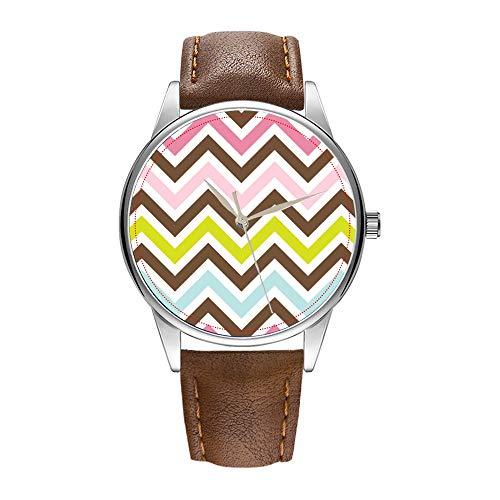 Reloj para hombre de cuarzo marrón Cortex, reloj de pulsera para hombres famoso reloj de cuarzo para regalo promocional Aztec Colors – Chic Chevron Zick-Zack patrón reloj de pulsera