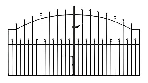 Manor Arched Ball Top Driveway Gates 2134mm (7ft) GAP x 1220mm High wrought iron dual swing metal...