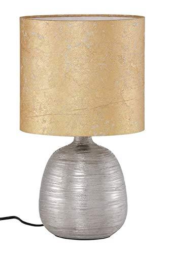 Briloner Leuchten,Tischlampe goldfarbener Stoffschirm und silberfarbener Keramikfuss, 7717-017, für max. 60 Watt, E 27