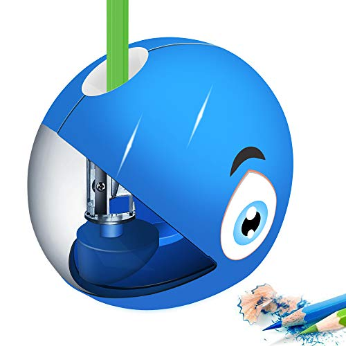 CNASA Electric Pencil Sharpener for Kids,Shark Pencil Sharpener for No.2 and Colored Pencils,Electrical Automatic Sharpener for Home/School/Office,Fast Sharpen with USB or 2AA Batteries(Not Included