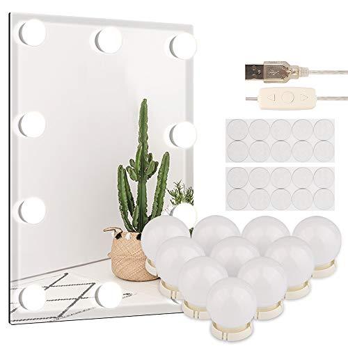Vegena Schminktisch Beleuchtung, LED Spiegelleuchte, Schminklicht Spiegel Lichter Spiegellampe für Schminkspiegel Kosmetikspiegel Badzimmer Make Up Licht, 7000K Dimmbar 10 LED-Lampen