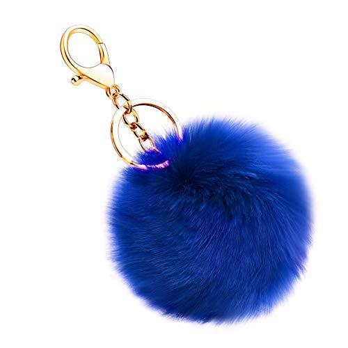 Soleebee Künstliche Kaninchenfell Keychain Flauschigen Ball Pom Pom Schlüsselanhänger Taschen Koffer Rucksäcke Zubehör Charm Auto Schlüsselanhänger Schlüsselring für Frauen Mädchen (Dunkelblau)