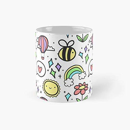 Positivity Pattern Classic Mug - 11 Ounce For Coffee, Tea, Chocolate Or Latte.