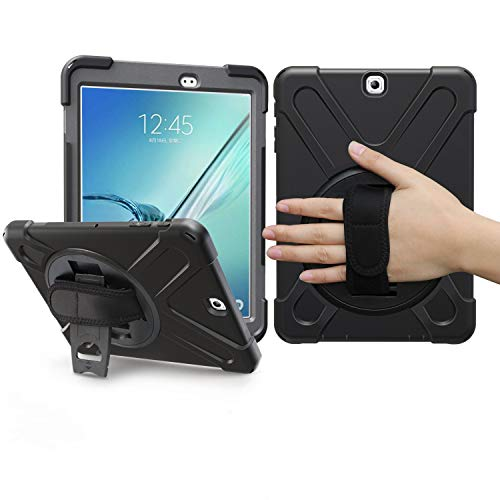 BRAECN Samsung Galaxy Tab S2 8.0 Case, Heavy Duty Full-body Rugged PC Silicone Case Cover with Portable Shoulder Strap Built-in Stand/Hand Strap For Galaxy Tab S2 Tablet (8.0 inch SM-T710 T713) Black