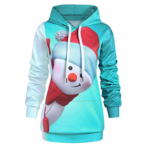 Discover Bargain RUIVE Women's Christmas Plus Size Hoodie Kangaroo Pocket Cartoon Snowman Print Gi...