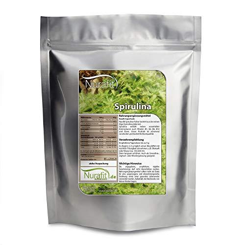 Nurafit Spirulina poeder I Natuurlijke superfood met 8 essentiële aminozuren en vele eiwitten I Groene Smoothie Powder 250g
