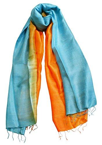 Exklusiv Seidenschal Pure Silk ca. 180 cm x 75 cm zweifarbig Comb 2, Farben Seidenschals:orange/cyan (27)
