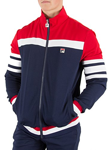 Fila Vintage Hombre Courto Cut & Sew Track Jacket, Azul, XX-Large