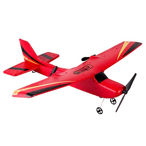 RC Airplane, Micro Indoor RC Airplane, Remote Control RC RTF Glider One Key Start Delta Wing Flying Aircraft 350mm Wingspan (Red)